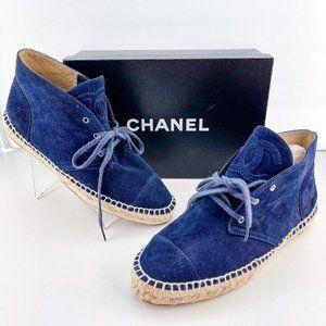 Chanel Dark Navy Blue Suede High Top Espadrilles
